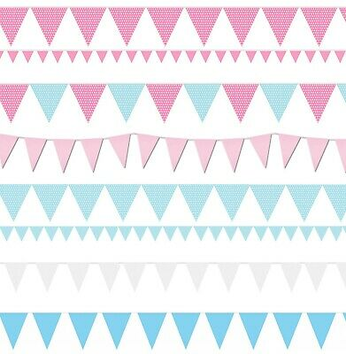 Bunting Blue Pink Baby Shower Boy Girl Christening Flags Party Birthday Gender