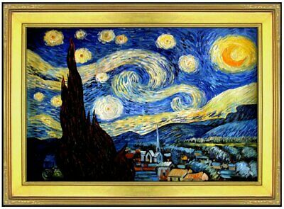 Framed, Van Gogh Starry Night Repro, 100% Hand Painted Oil Painting 24x36in