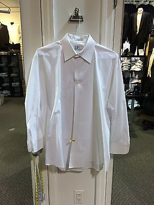 "Mens & Boy's Formal 1/4"" pleated White Laydown collar Tuxedo Shirt Free Shipping"