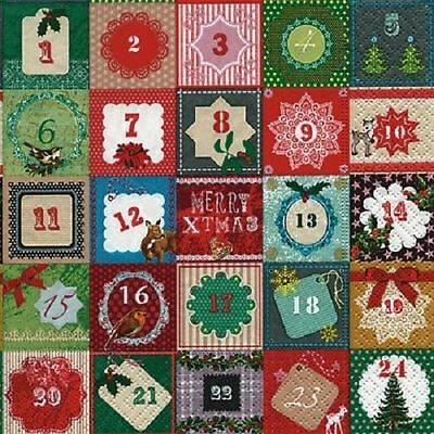 4 x Paper Napkins - Advent Calendar - Ideal for Decoupage / Decopatch