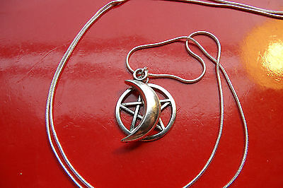 """Moon & Pentacle / Pentagram Charm on a 30"""" Sterling Silver Snake Chain Necklace"""