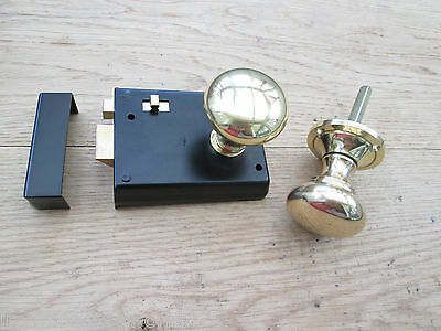 Dual Handed Old English Door Rim Knob Set Bathroom Bedroom Lock Latch With Snib