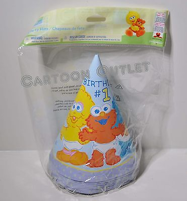 Sesame Street Elmo Party Hats 8Pcs Big Bird Cookie Monster First Birthday 1St