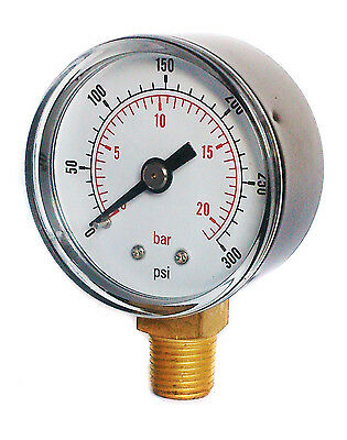 Pressure Gauge 50mm Dial 0/300 PSI & 0/20 Bar 1/4 BSPT Bottom.and/or Hose Tail