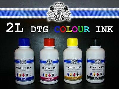 2L - 4x500ml Colors DTG Textile ink  Plus 500ml WHITE INK direct to garment
