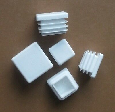 Square Plastic End Caps Blanking Plugs Tube Pipe Box Section Inserts / White