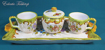 Deruta Hand-Painted Coffee Set for Two with Tray