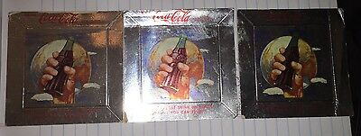 3 Vintage 1960's Coca Cola Hand Holding Bottle Square Paper Ashtray Coasters