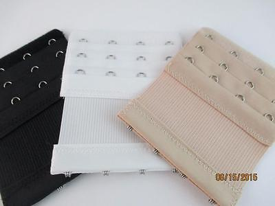 3 Pc 4 Hook Soft Bra Strap Back Band Extenders Extension New Black White& Nude
