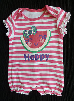 Baby clothes GIRL 0-3m F&F pink/white stripe Happy romper SEE SHOP! COMBINE