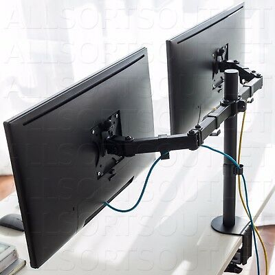 Dual Double Twin Lcd Monitor Stand Mount Arm Clamp Adjustable 2 Screens 15-27""