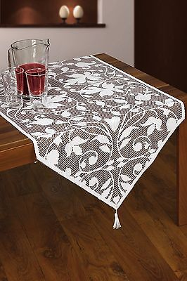 """White, lace tablecloth / table runner novelty  NEW 60 x 145 cm (24"""" x 57"""")"""