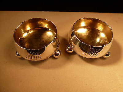 Early Pair Antique Tiffany And Co M Sterling Silver Gold Wash Salt Cellars Moore