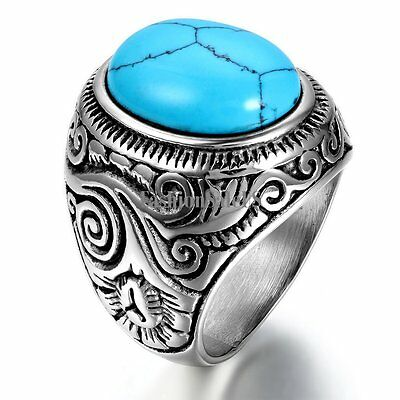 Vintage Silver Stainless Steel Artificial Turquoise Men's Classic Ring Band New