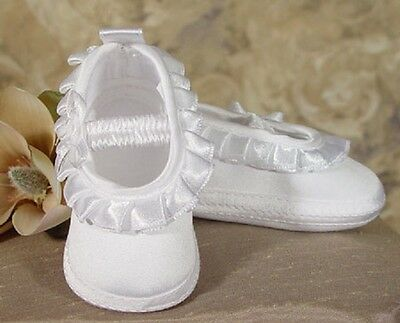 NIB Girls Shoes 2MSBAS Ruffled Christening Baptism Satin  CLOSEOUT SALE