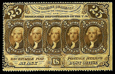 1862-1863 Us 25 Cents Fr 1279 Fractional Jefferson Stamps Note About Unc.