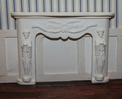 DOLLHOUSE MINIATURE Carved Figures Fireplace, White
