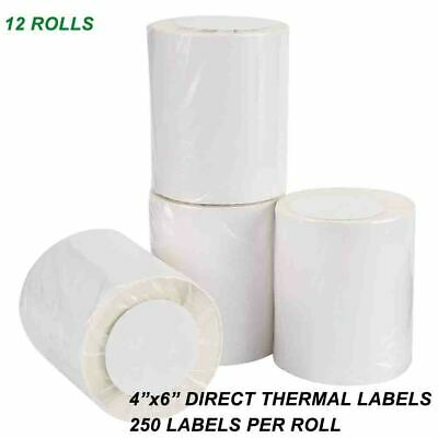 12 Rolls 4x6 Direct Thermal Labels Blank 250/Roll For LP2844 Zebra Eltron ZP-450
