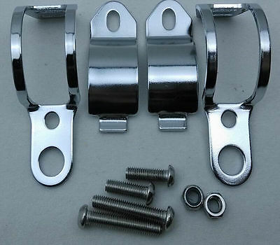 Motorcycle Chrome Turn Signal Mount Brackets Fork Clamps Ear 30-45mm Chrome