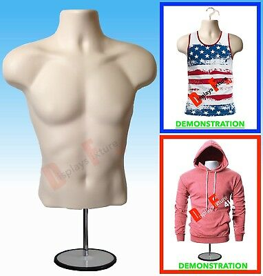 1 Mannequin +1 Stand 1 Hook, Male Flesh Dress Body Torso Form - Display Clothing