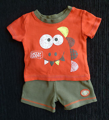 Baby clothes BOY 0-3m George outfit summer dinosaur red/khaki t-shirt/shorts