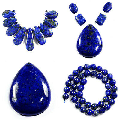 Natural Lapis Lazuli Necklace Pendant Beads Set Strand Jewellery Making Kits UK