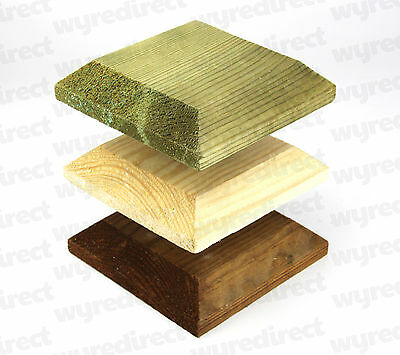 "Wooden Post Top For 4"" 100mm Fence Post Cap Decking Untreated, Green, or Brown"