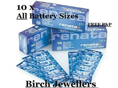 x10 Renata Watch Battery - Swiss Made - Joblot - Silver Oxide Renata Batteries