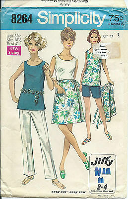 S 8264 sewing pattern Half-Size WRAP SKIRT TOP PANTS SHORTS vintage 1969 sew 18½