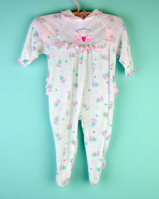VTG unique botique frilly white kitty  baby girl romper playsuit  3-6m
