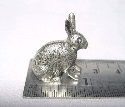 Tiny Miniature Pewter Rabbit Figurine Bunny FREE SHIPPING