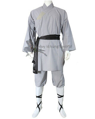 Gray Cotton Shaolin Monk Robe Kung fu Uniform Martial arts Wushu Tai Chi Suit