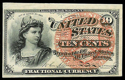 1869-1875 Us 10 Cents Fractional Currency Liberty Note Fr 1257 Condition Au - Cu
