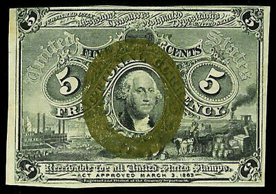 1863 -1867 Us 5 Cents Fractional George Washington Note Fr 1232 About Unc.