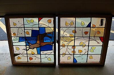 "+ Antique Stained Glass Window + In Double Hung Frames + ""Deer"" + chalice co. +"