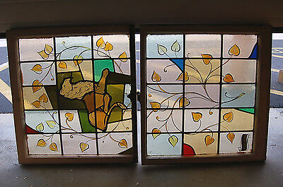 "+ Antique Stained Glass Window + In Double Hung Frames + ""Lion"" + chalice co. +"