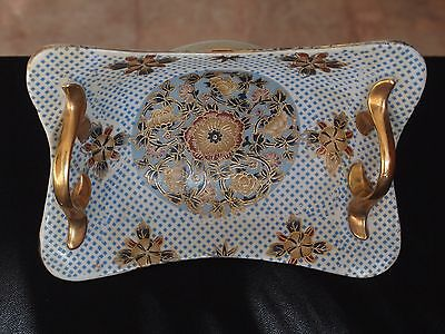 Gilded Porcelain Basket with Textured Blue Diamond and Floral Pattern
