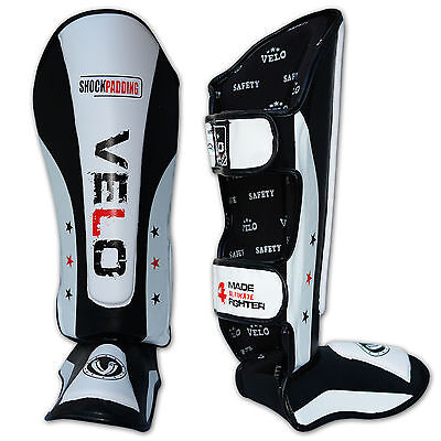 VELO Gel Shin Instep Foot Pads MMA Leg Kick Guards Muay thai Boxing Training 5WH