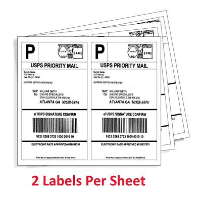 400 Half Sheet 8.5x5.5 Shipping Labels Self Adhesive For Paypal USPS Ebay