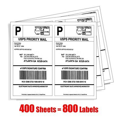 800 Half Sheet Shipping Labels 8.5x5.5 Self Adhesive 2 Labels Per Sheet for USPS