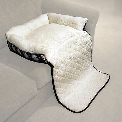 Small Blue Check Folding Cat/Dog Sheepskin Fleece Bed Sofa/Couch/Chair Cover