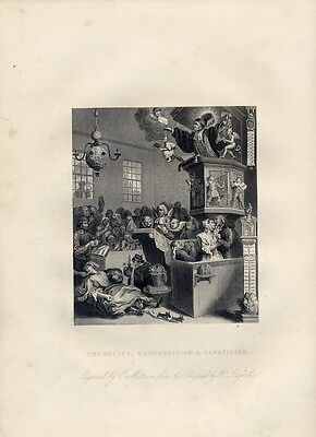ENGRAVING OF WILLIAM HOGARTH'S - CREDULITY, SUPERSTITION... ORIGINAL PRINT 1850s