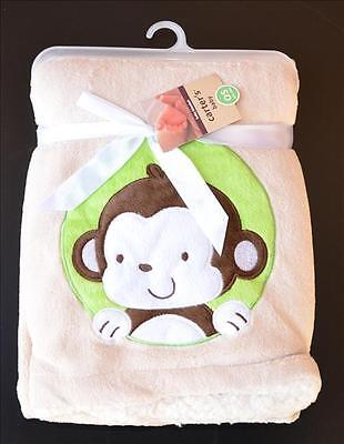 NEW Superior Quality Baby Hooded Plush Blanket Super soft Coral fleece Monkey