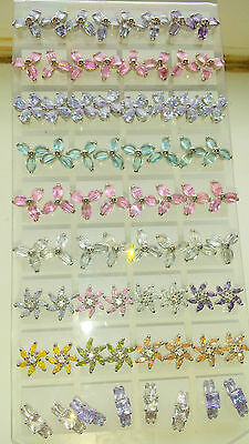 Joblot of 36 Pairs Mixed Design Cubic Zirconia stud Earrings - wholesale lot 3