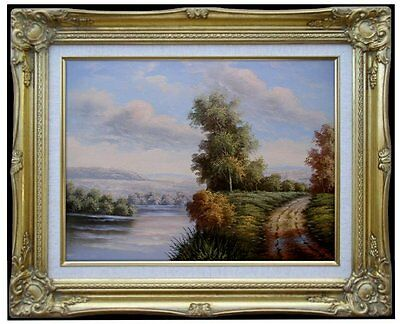 Framed, Quality Hand Painted Oil Painting Path and River in a Landscape 12x16in