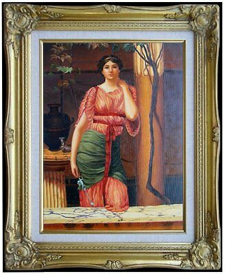 Framed Hand Painted Oil Painting, John William Godward Nerissa Repro, 12x16in