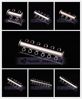 5pcs New Strong Magnet 2~8Rows Hole Bracelet Clasp Finding End Links Connectors