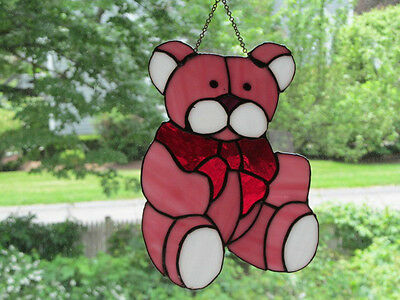 Vintage Large Leaded Stained Glass Sun Catcher Pink Teddy Bear Real Glass