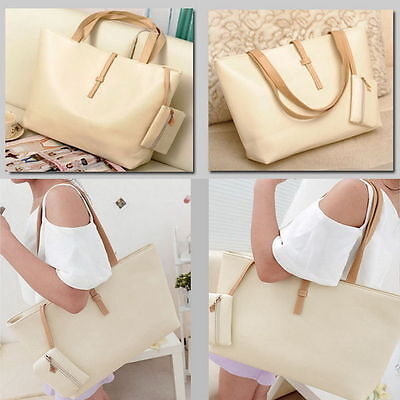 Women PU Leather Tote Shoulder Bags Hobo Handbags Satchel Messenger Purse Beige