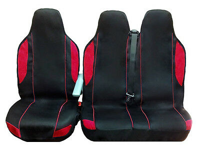 Ford Transit 2002 2+1 Blk/red Fabric Van Seat Covers